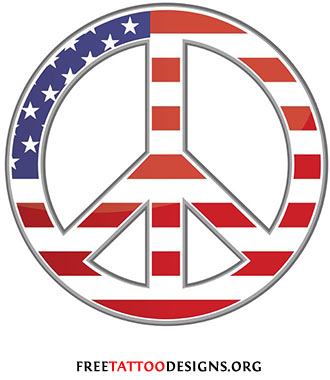 Peace sign tattoo with the flag of the US
