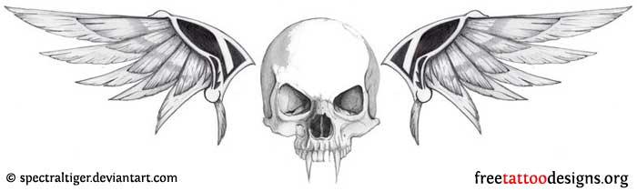 Biker styled skull and wings tattoo design