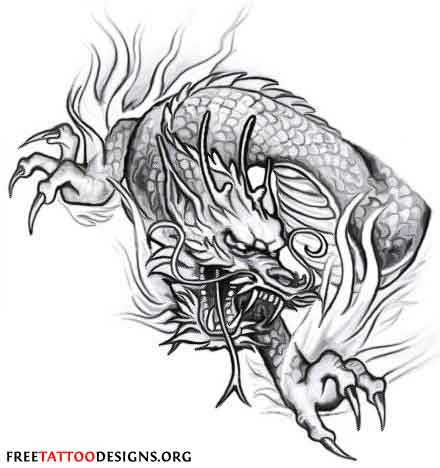 Japanese Style Black Dragon Tattoo