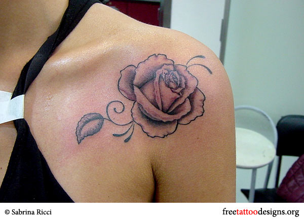 Stylish black rose tattoo