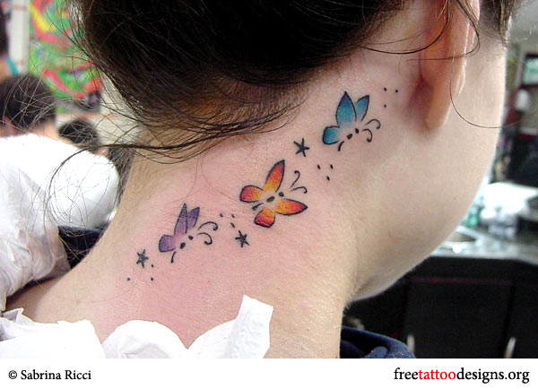 Butterflies tattoo on a girl's neck