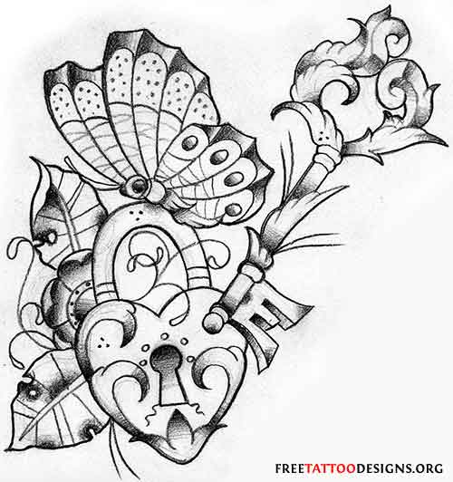 Hearts And Roses And Stars Drawings Butterfly tattoo with a heart