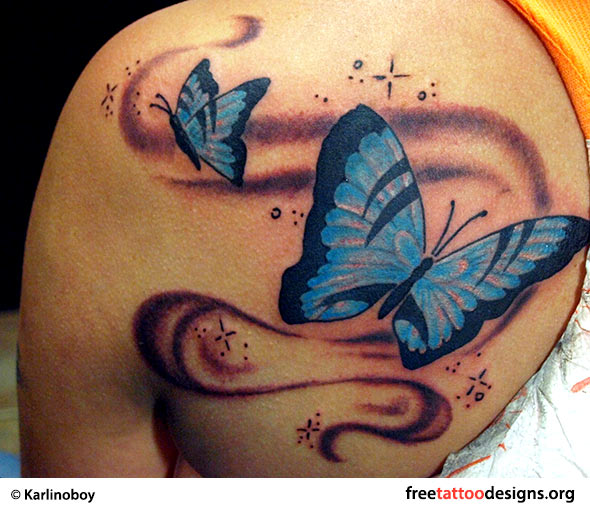 Butterfly tattoo on a woman's shoulder