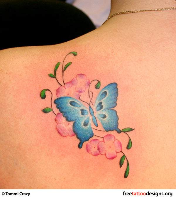 Butterfly and flowers tattoo on shoulder