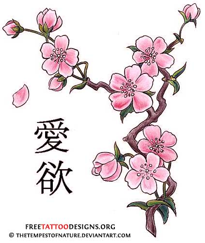Cherry blossom and kanji tattoo