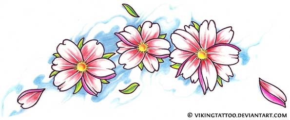 Cherry Blossom Tattoo Flash