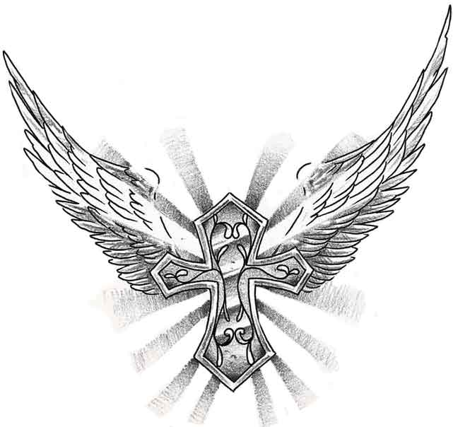 cross tattoos with wings on arm. Cross with Wings