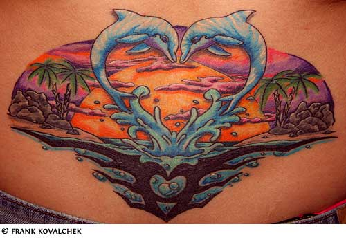 the gallery for dolphins making a heart tattoo. Black Bedroom Furniture Sets. Home Design Ideas