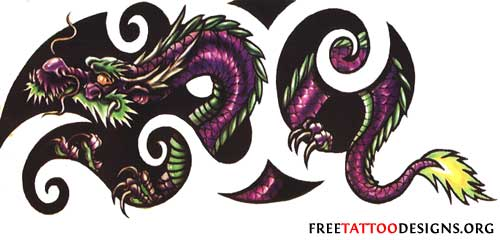 Dragon in tribal design