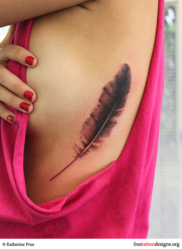 Feather tattoo on a woman's side