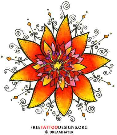 Flower tattoo flash (oriental, orange, yellow and purple)