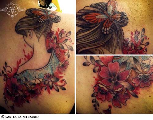 Most cherry blossom tattoos include a branch, but complete cherry tree