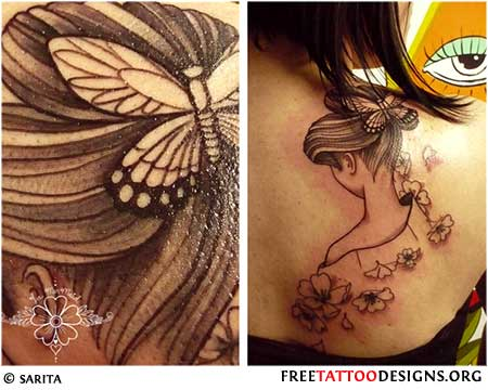 Tattoo of a geisha's head with butterflies and flowers
