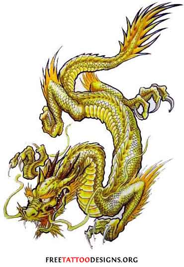 Japanese style green dragon tattoo