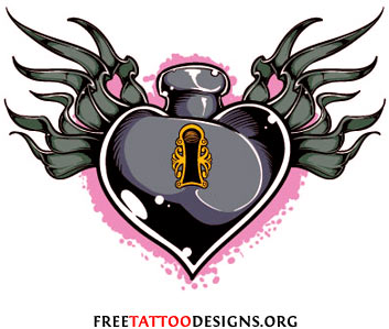 Heart lock tattoo