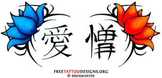 Design of Japanese tattoo symbols with lotus flowers