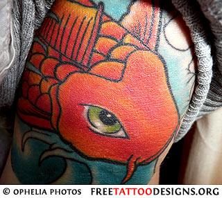 Koi fish tattoo with heart and bubbles