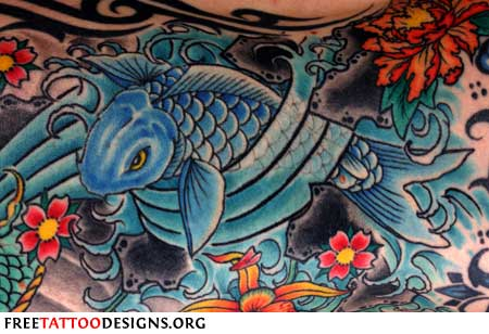 Koi tattoo with flowers and waves