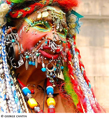 Elaine Davidson, a Scottish woman, has the world record for extreme piercing
