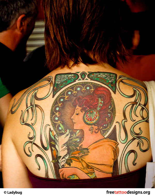 Retro tattoo on a girl's back
