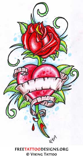 rose and heart tattoos. Rose heart tattoos are a very