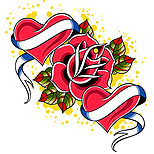Rose hearts tattoo design