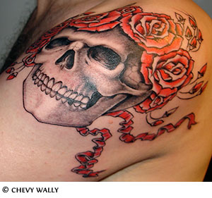 Rose skull tattoos