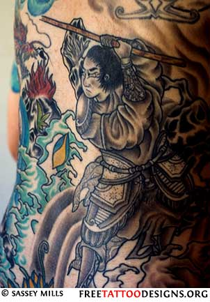 Fighting Samurai Tattoo with Japanese Waves
