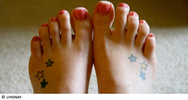 Stars tattoos on feet