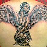 Angel tattoo on a man's back