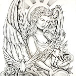 Angel tattoo design with cross and dove