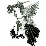 Female angel of death tattoo