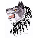 Angry wolf design with tribal
