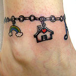 Ankle bracelet tattoo (with charms)