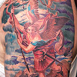 Archangel tattoo on a man's arm