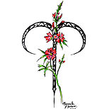 Aries sign tattoo design (with flowers)