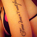 Quote tattoo on a girl's arm