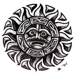 Aztec tribal sun tattoo design
