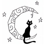Black cat and moon tattoo design
