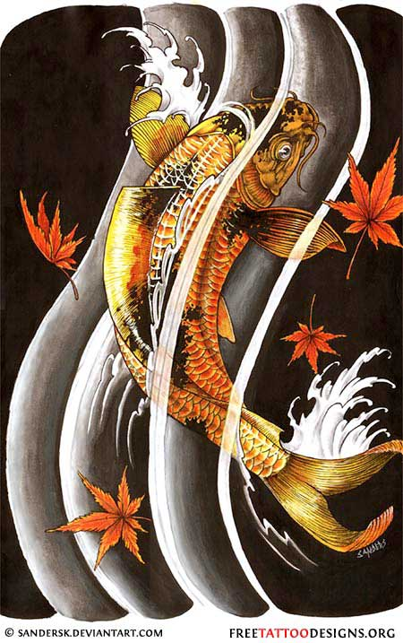 40 koi fish tattoos japanese and chinese designs for Black coy fish