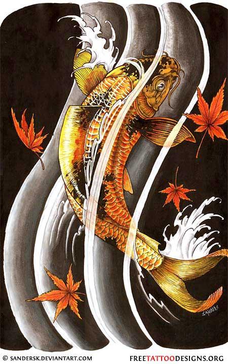 40 koi fish tattoos japanese and chinese designs for Black koi fish tattoo