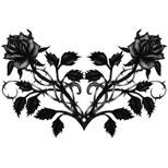 Black rose and heart tattoo design (ideal for the lower back)