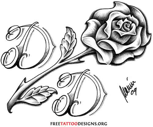 Black rose tattoo design