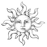 Black sun tattoo design