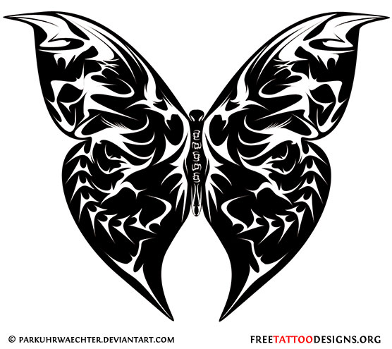 969e5def6 ... Black tribal butterfly tattoo design · Girly butterfly and flowers  tattoo · Tree and butterflies ...
