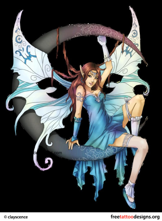 Tattoo Of A Blue Fairy Sitting On The Moon