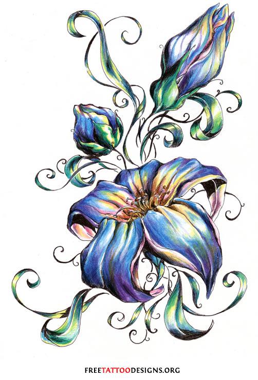 Blue Flower Tattoo Design Flower Tattoo Gallery:...