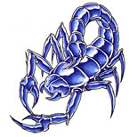 Blue scorpion tattoo design