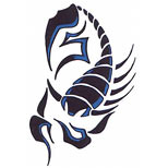 Blue tribal scorpion tattoo design