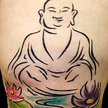 Buddha tattoo on arm (with lotus flowers)